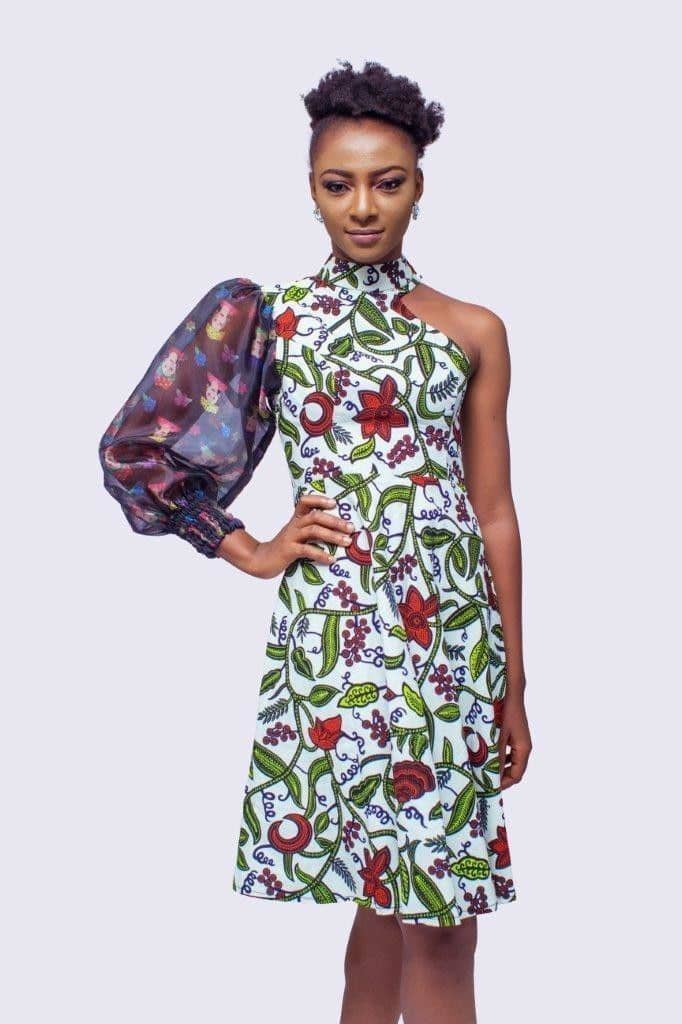lady wearing one hand ankara and organza dress