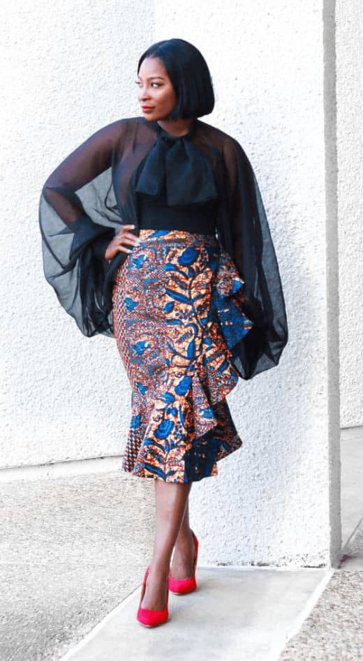lady wearing organza top with ankara skirt