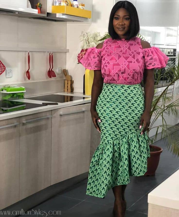 Mercy Johnson wearing ankara skirt