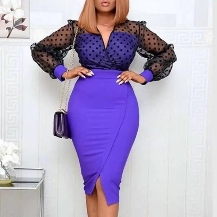 beautiful lady wearing plain skirt and polka dots top