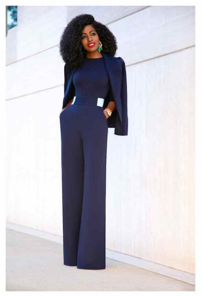 lady wearing jumpsuit with a blazer