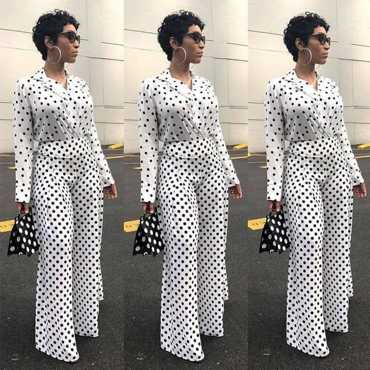 lady wearing polka dots top and pants