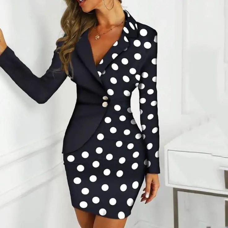 lady wearing polka dot dress