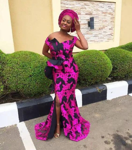 lady inn a lace owambe dress