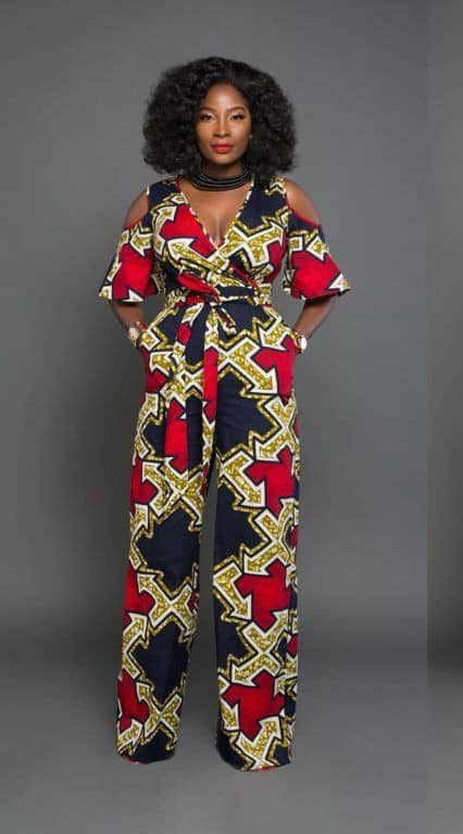 lady in an ankara jumpsuit ready to party