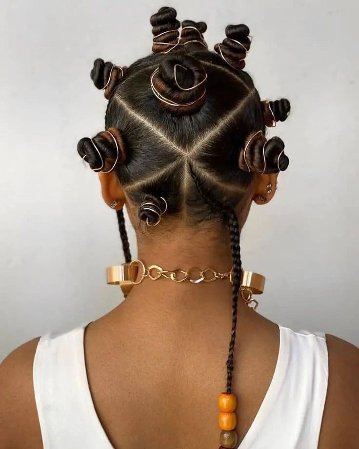 back view of elaborate bantu knots hairstyle