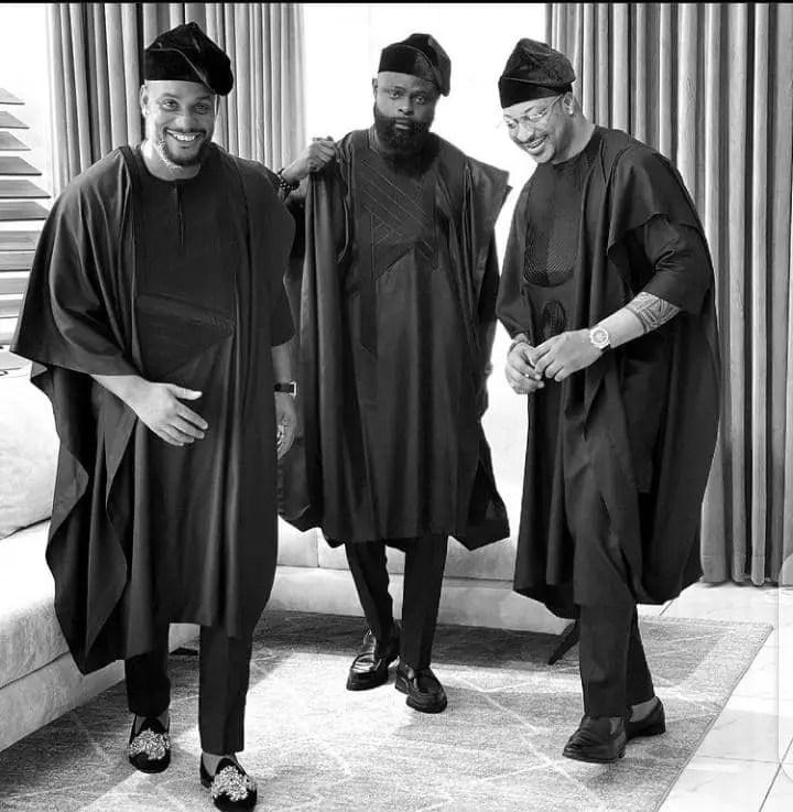 three celebrity men rocking agbadas