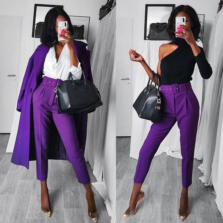 petite lady wear wearing top and pants with belt