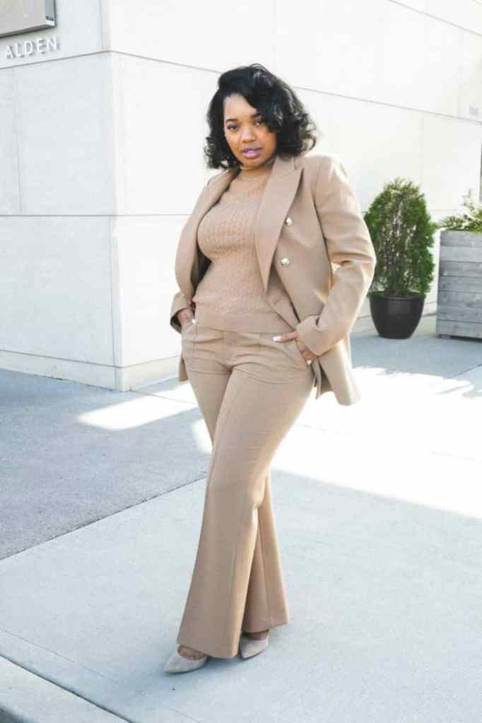 lady wearing brown blazer and pants