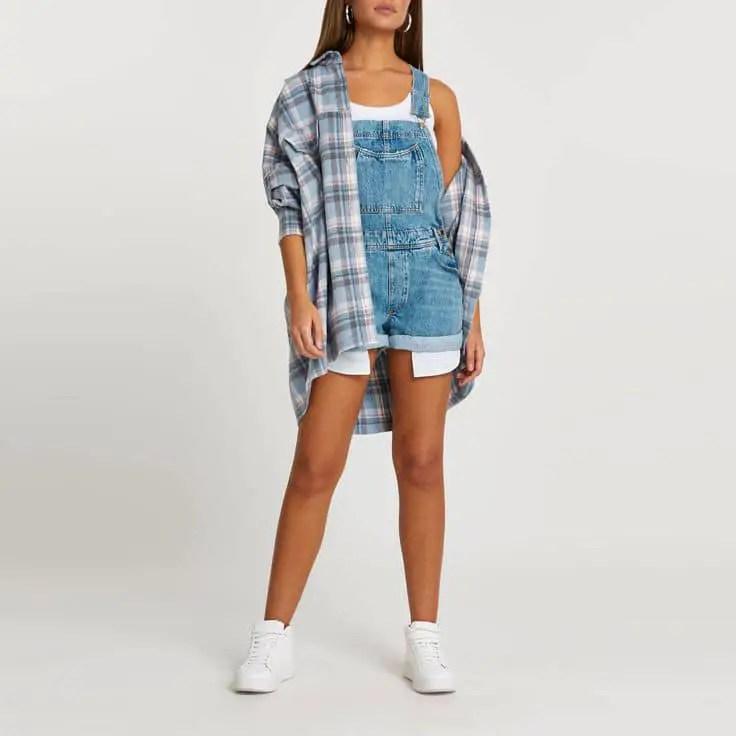 lady lat=yering denim dungaree with shirt