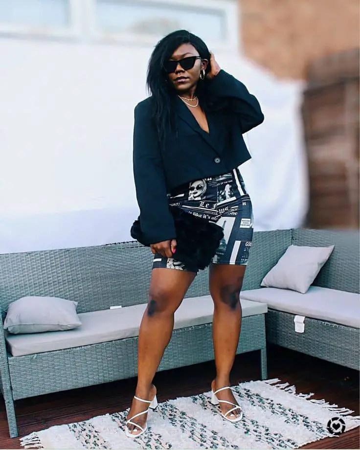 lady wearing mini skirt with jacket