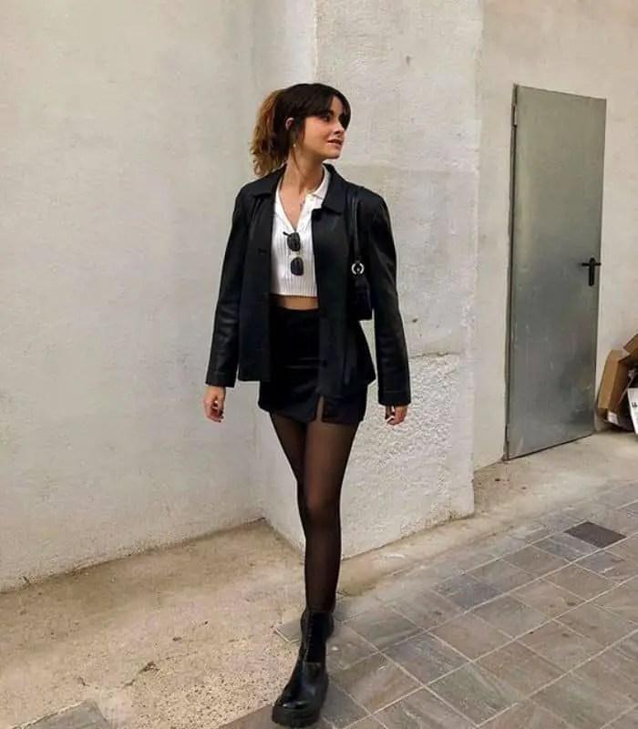 lady wearing tight under mini skirt