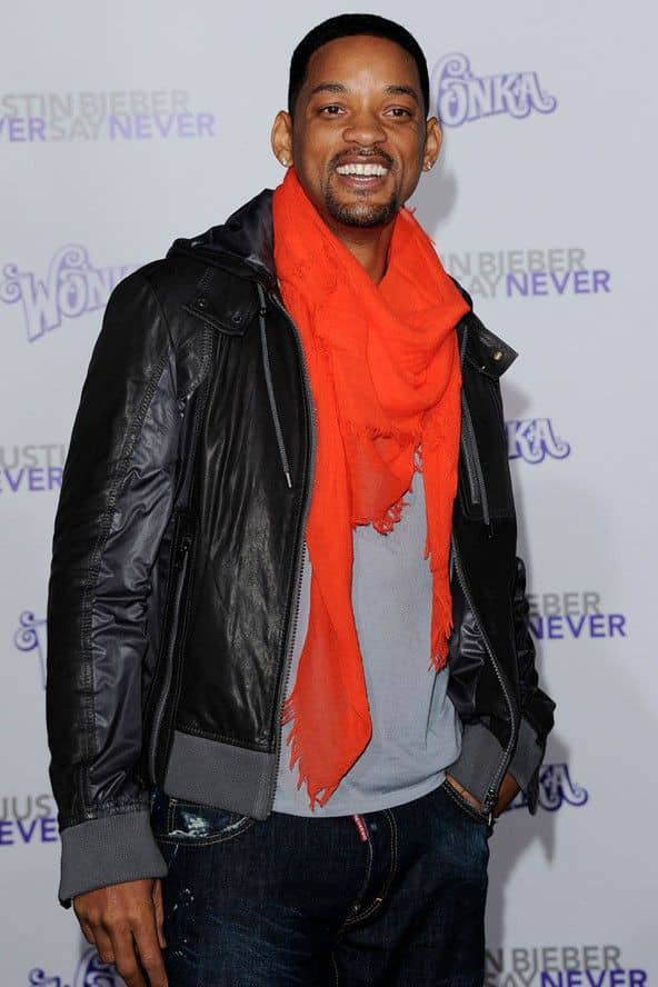 smiling Will Smith showing how to wear a scarf