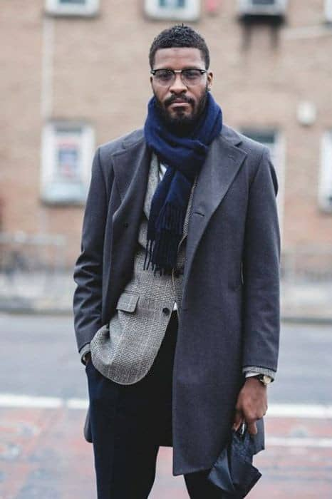 man wearing long coat with scarf around the neck to keep away cold