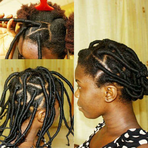 showing different hair threading steps