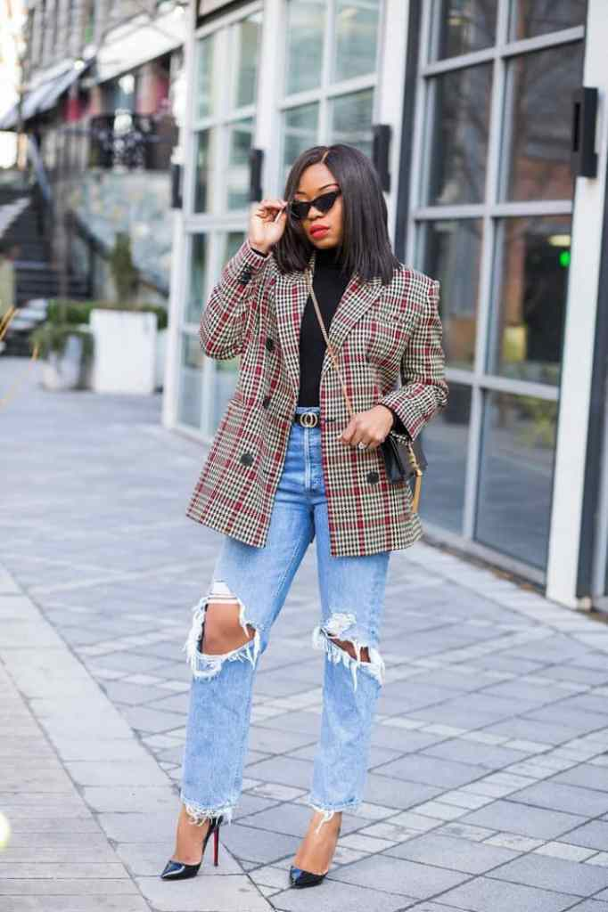 lady layering with mixed print