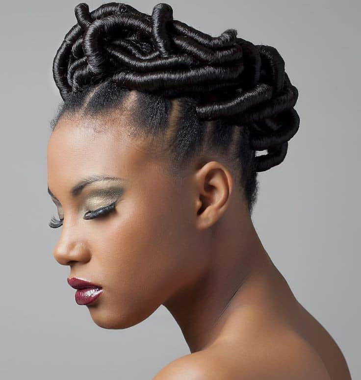 pretty lady wearing beautiful threaded hair