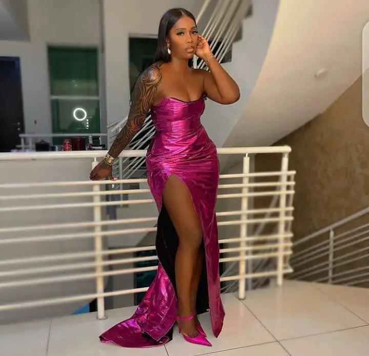 Tiwa Savage rocking a hot dinner dress
