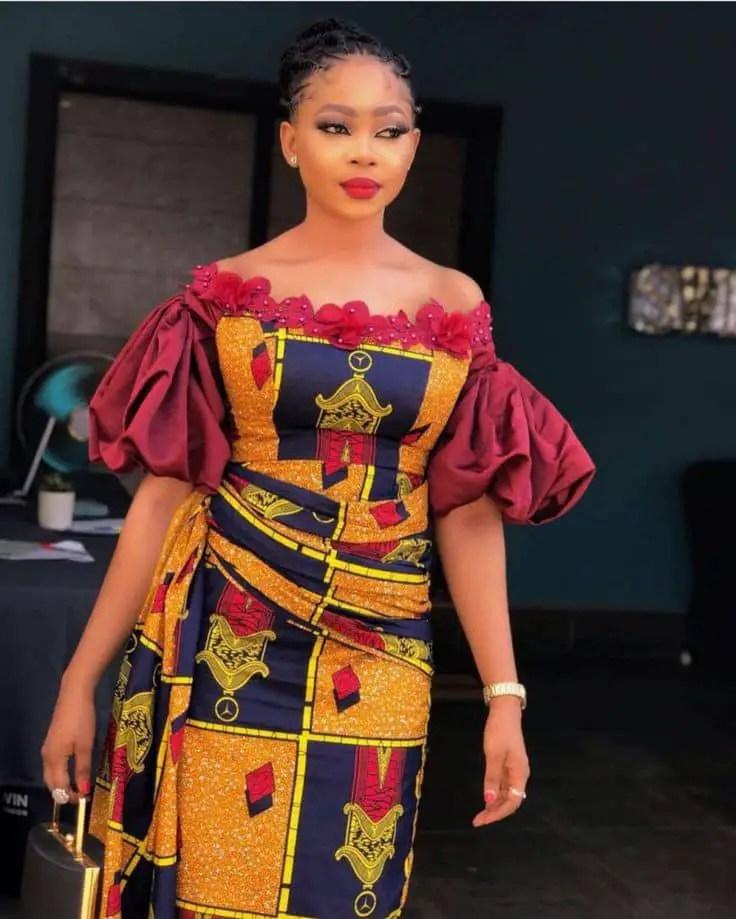 fair lady rocking ankara/plain material dress