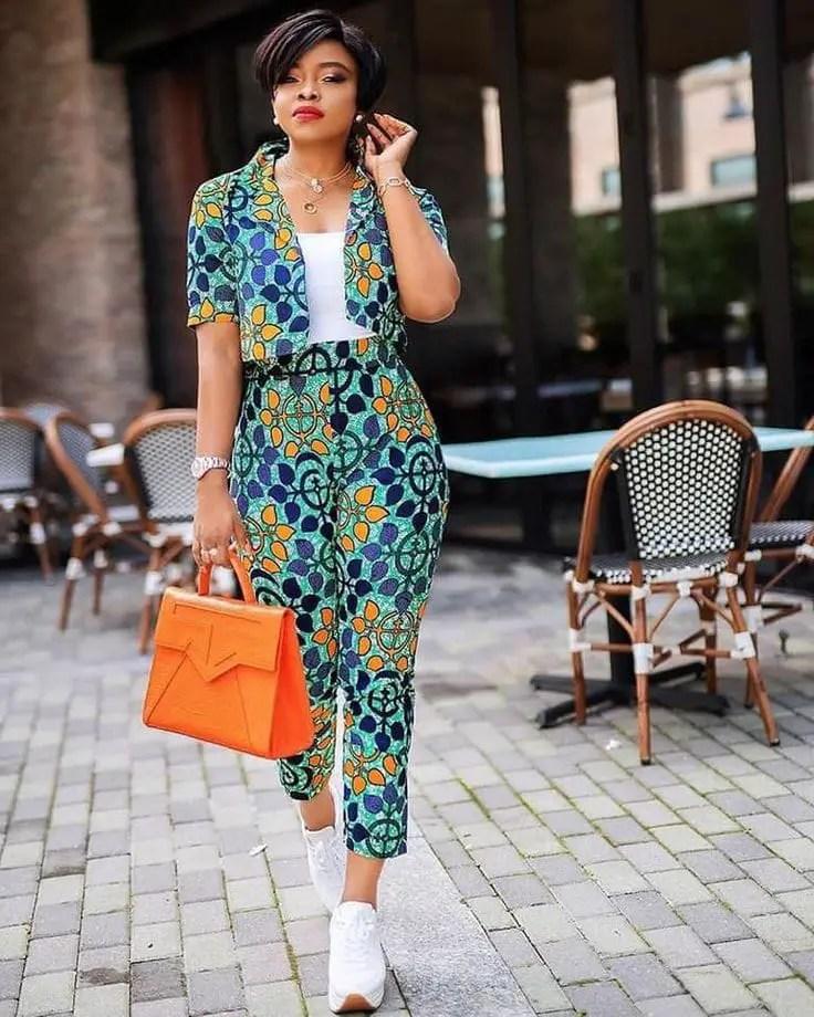 pretty lady wearing ankara blazer with matching pants