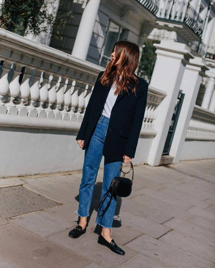 lady wearing blazer with black shoes