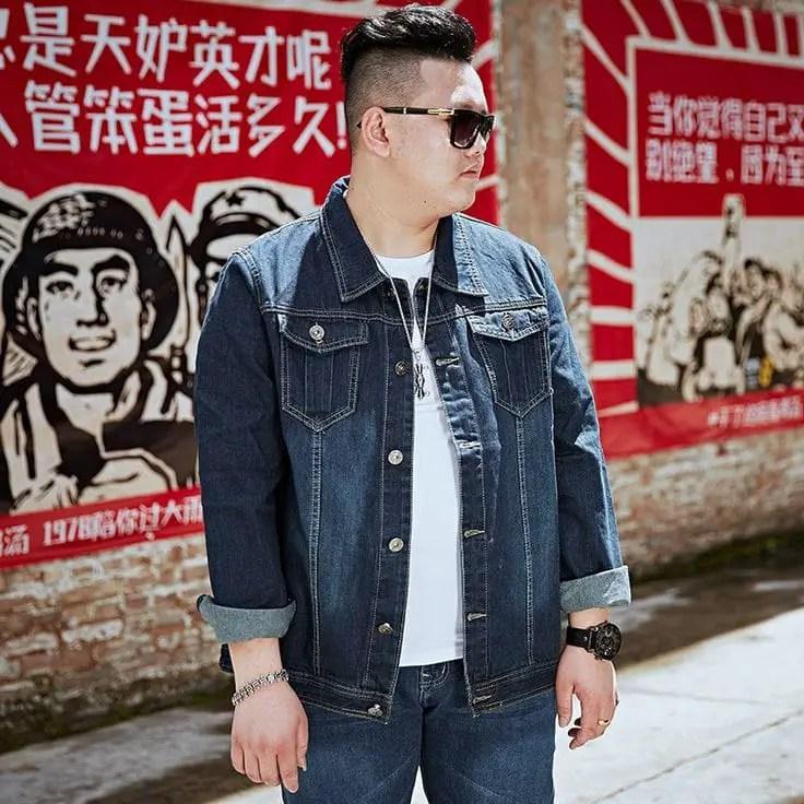 man wearing jeans jacket