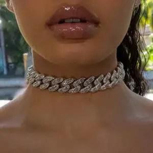 close-up shot of necklace on a lady's neck