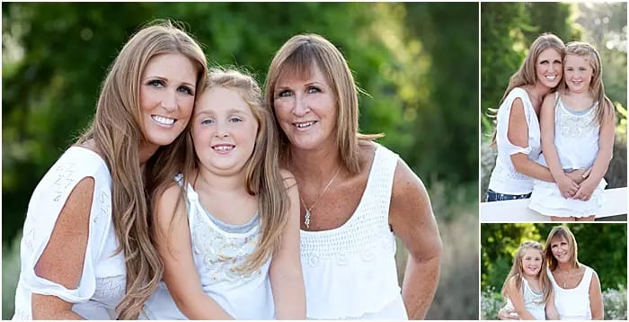 grandmother, mother and daughter wearing white outfits together