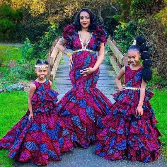 mother and two daughters rocking matching ankara dresses