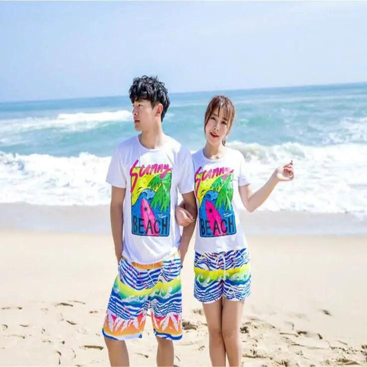 couple wearing matching beach wear