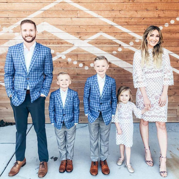 American family wearing workwear clothes