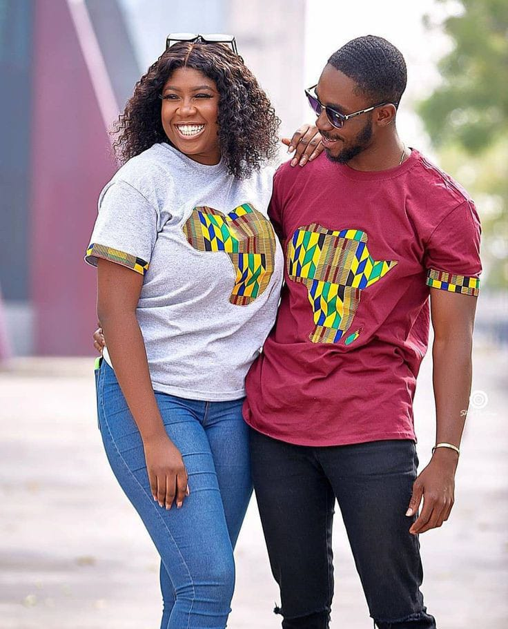 happy couple wearing Afro-urban T-shirts