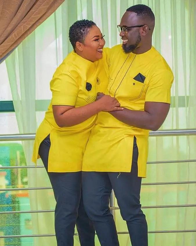 happy couple wearing yellow senators together