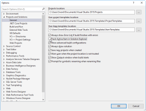 Visual Studio Options Projects and Solutions Track Active Item
