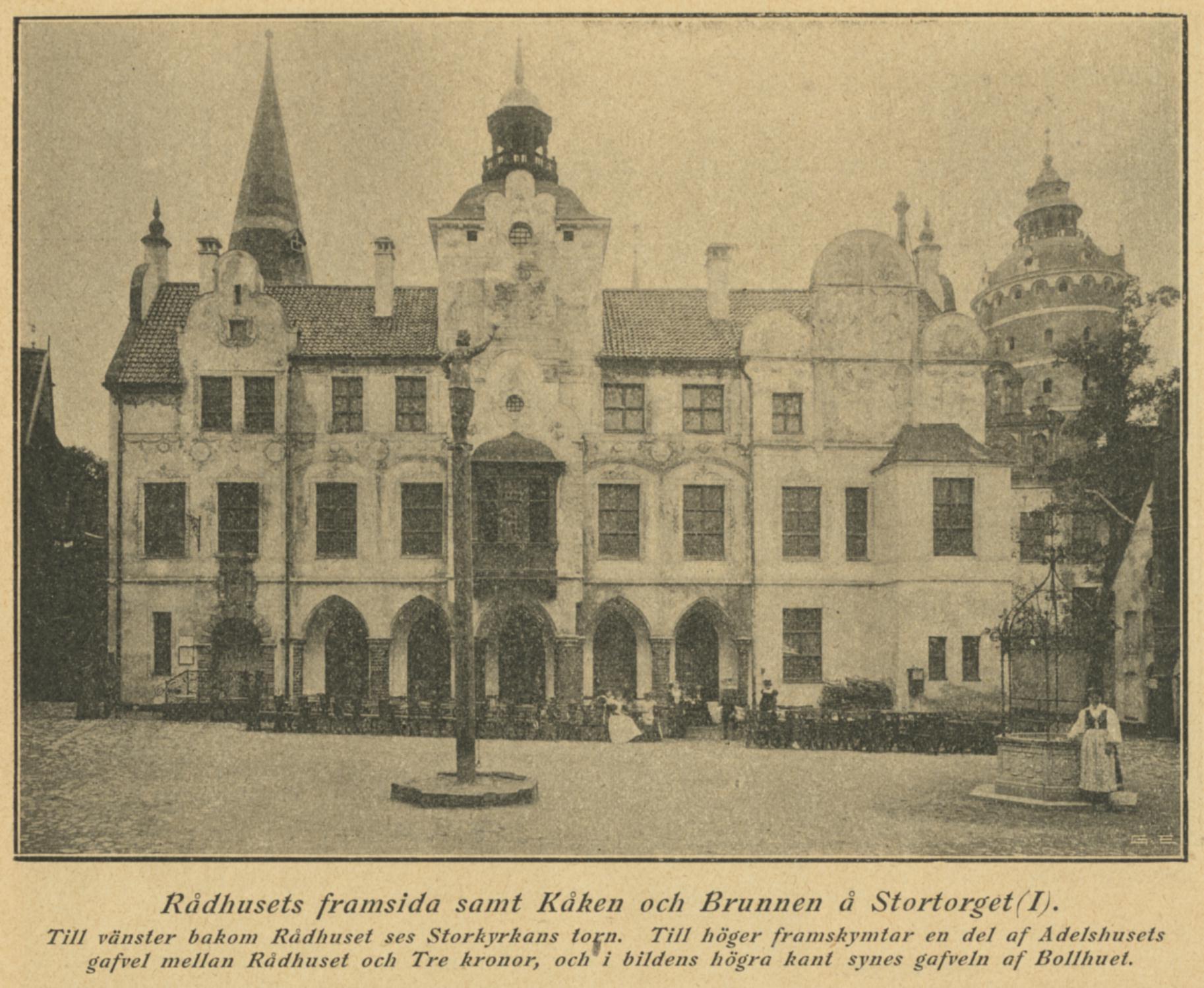 Rådhusets framsida samt Kåken och Brunnen på Stortorget