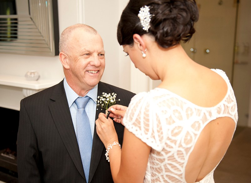 Adjusting dad's flower