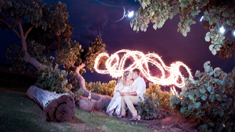 Light painting at Coriole