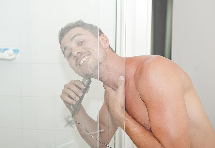 Shaving in the shower