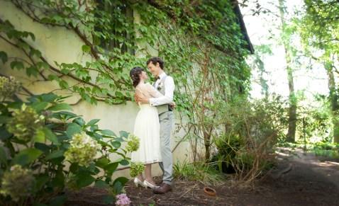 Bride and Groom aside Hans Heysen House