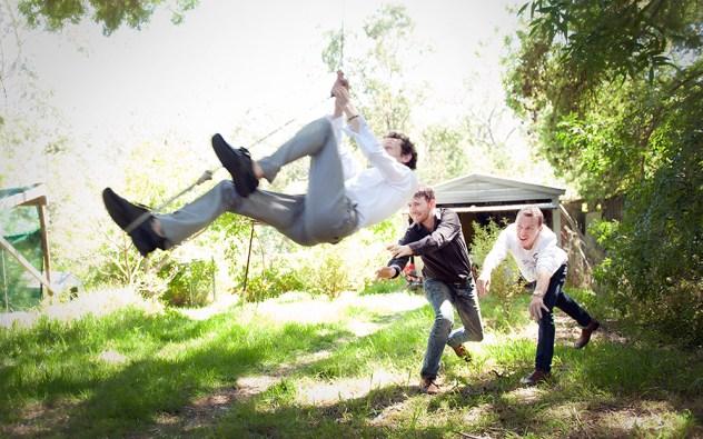 Tree swing with groomsmen
