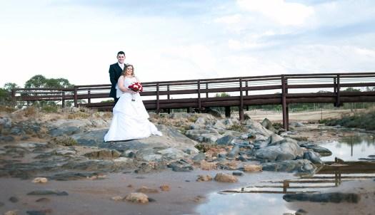 Bride and Groom in front of Bridge