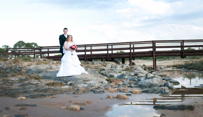 Bride and Groom in front of Bridge