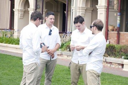 Groomsmen looking nervous at Grange