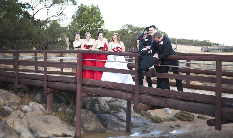Throwing the groom off the bridge