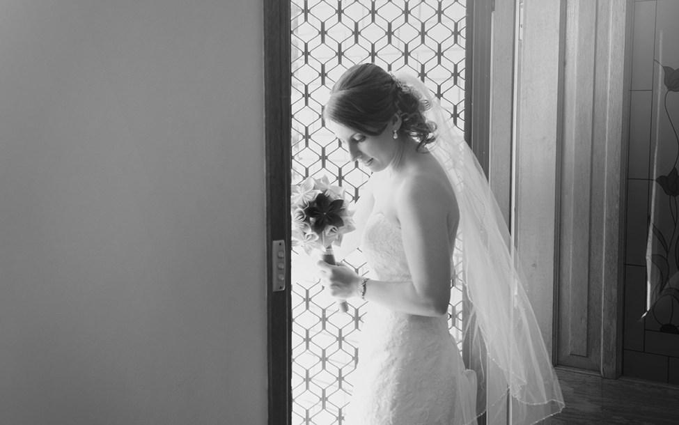 Bride leaving house