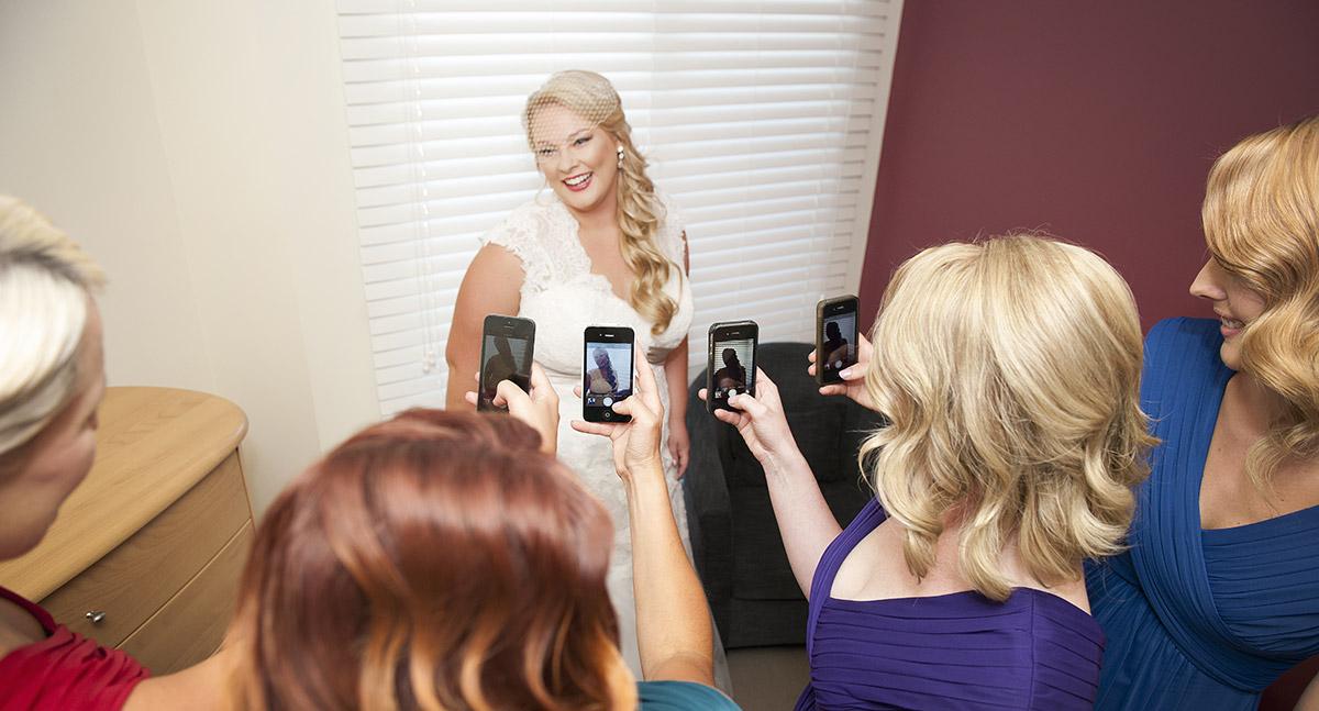 Mobile phone photos of Bride