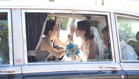 Putting on Makeup in car at SC Pannell Winery