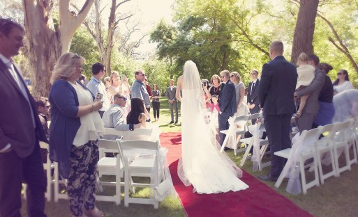 View from behind bride