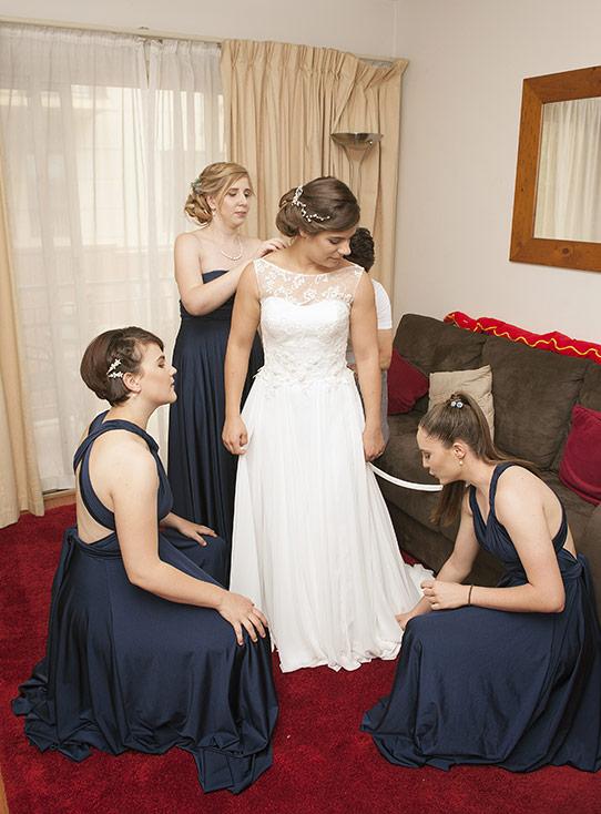 Bride being prepared
