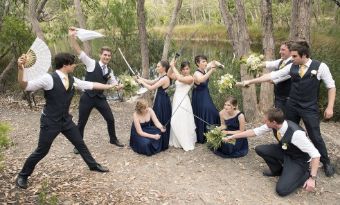 Bridal party defending themselves